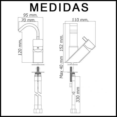 Medidas Grifo de Bide, Monomando Caño Alto Catral MR