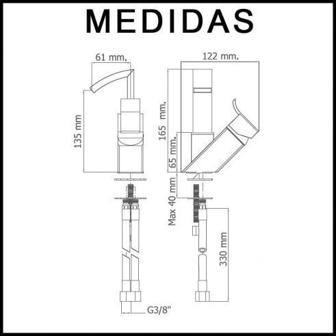 Medidas Grifo de Bide, Monomando Caño Alto Inca MR