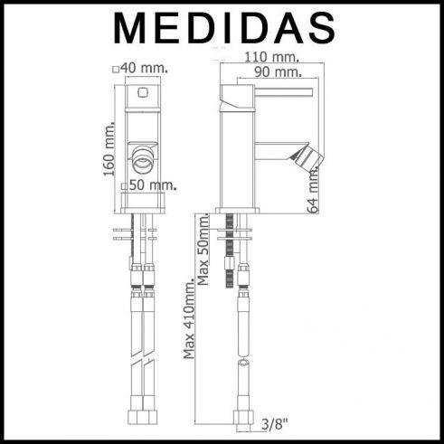 Medidas Grifo de Bide, Monomando Catral MR