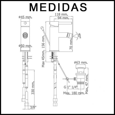 Medidas Grifo Bide Monomando Delta 06 MR, Cromo
