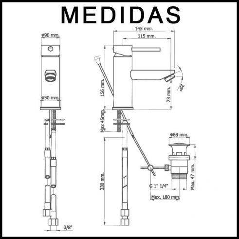 Medidas Grifo de Bide, Monomando Delta 13 MR,Cromo