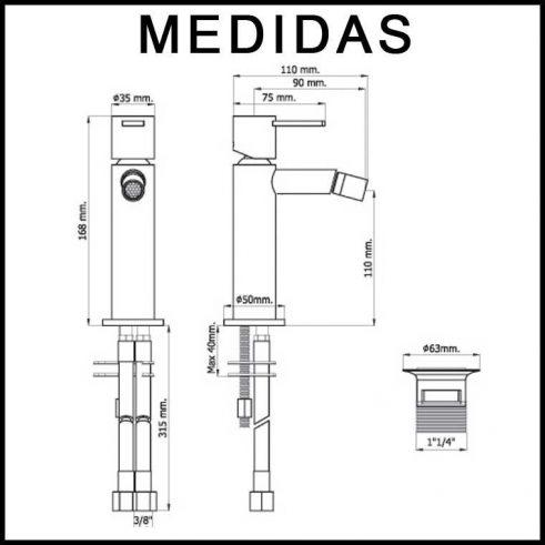 Medidas Grifo de Bide, Monomando Delta 14 MR, Cromo