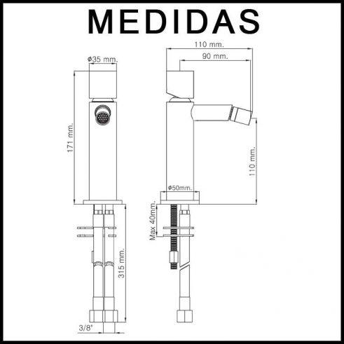 Medidas Grifo de Bide, Monomando Delta Cil MR, Cromo