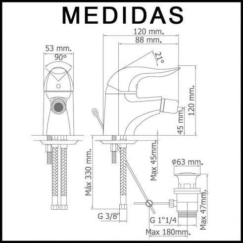 Medidas Grifo de Bide, Monomando Lodi MR, Cromo