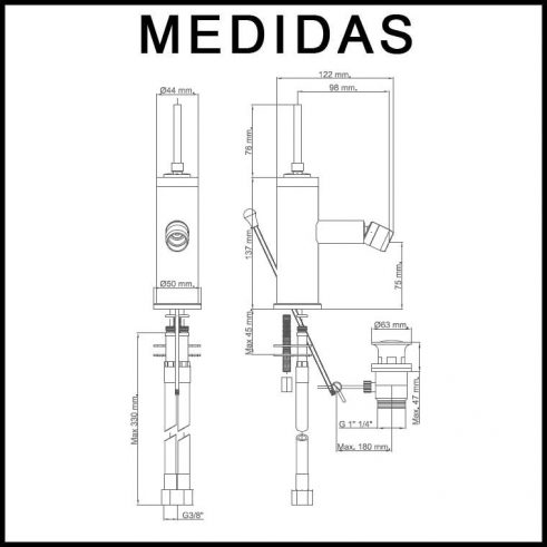 Medidas Grifo de Bide, Monomando Orba MR, Cromo