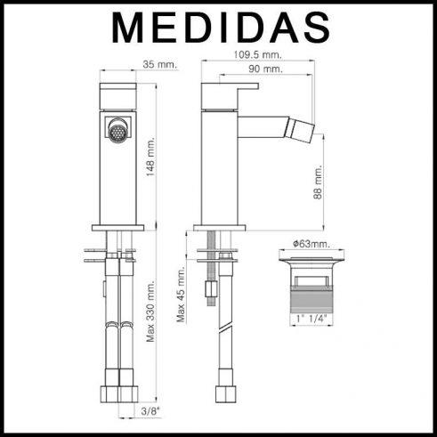 Medidas Grifo de Bide, Monomando Petra MR, Cromo