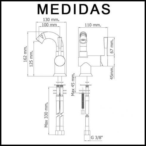 Medidas Grifo de Bibe Caño Alto, Monomando Roda MR, Cromo