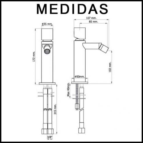 Medidas Grifo de Bide, Monomando Serpi 14 MR, Cromo