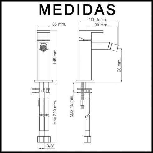 Medidas Grifo de Bide, Monomando Vera MR