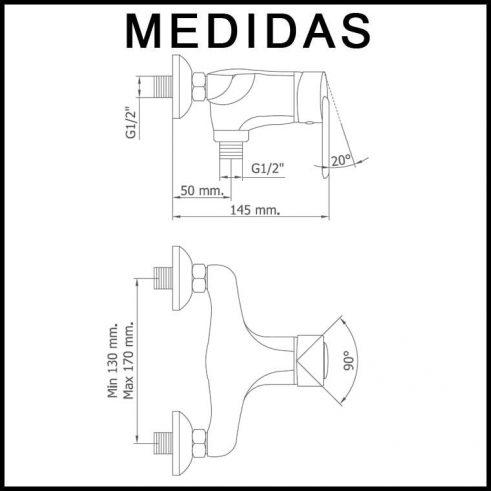 Medidas Grifo de Ducha, Monomando con Accesorios de Ducha Baza 07 MR, Cromo