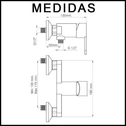 Medidas Grifo de Ducha, Monomando con Accesorios de Ducha Baza 15 MR, Cromo