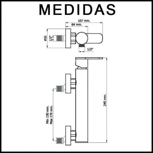 Medidas Grifo de Ducha, Monomando con Accesorios de ducha Beret 14 MR