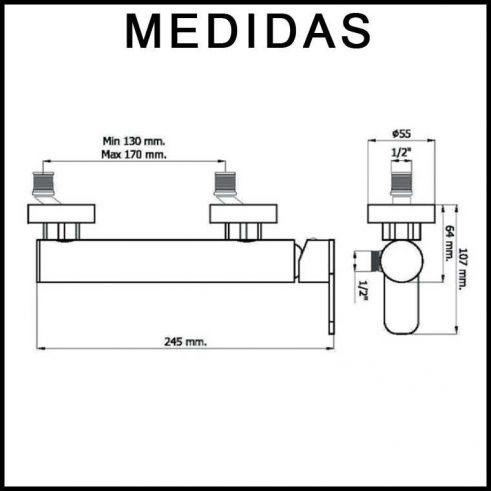 Medidas Grifo de Ducha, Monomando con Accesorios de Ducha Beret 17 MR, Cromo