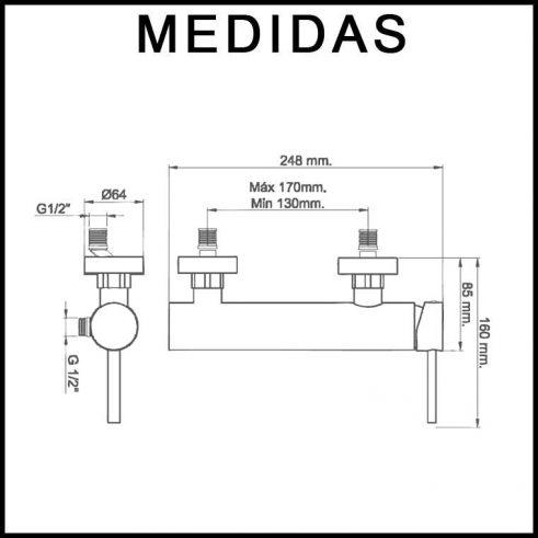 Medidas Grifo de Ducha Monomando con Accesorios de Ducha, Delta 13