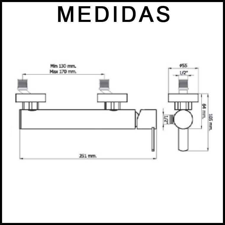 medidas grifo de ducha monomando con accesorios delta 14