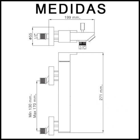 Medidas Grifo de ducha, Monomando con Accesorios de Ducha Petra 16 MR, Cromo