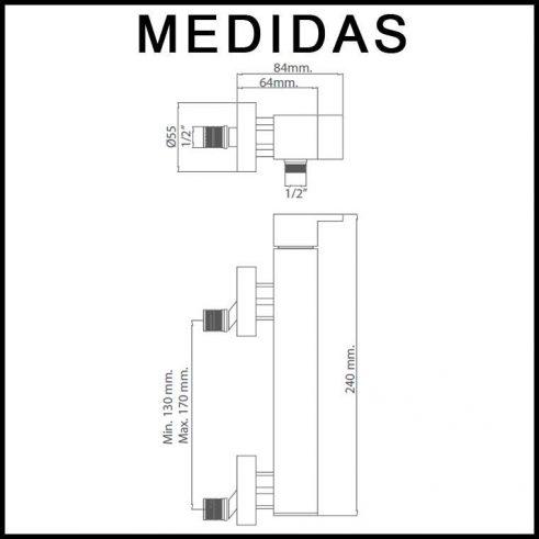 Medidas Grifo de Ducha, Monomando con Accesorios de Ducha Petra MR, Cromo