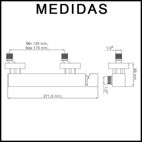 Medidas Grifo de Ducha, Monomando con Accesorios de Ducha Petra Cub MR, Cromo