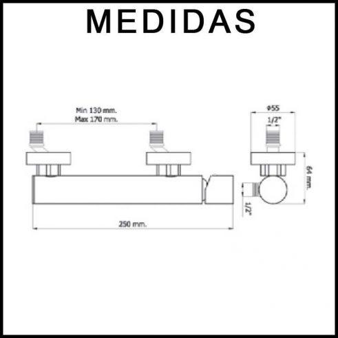 Medidas Grifo de Ducha, Monomando con Accesorios de Ducha Serpi 14 MR, Cromo