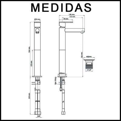 Medidas Grifo de Lavabo Alto, Monomando Beret 14 MR