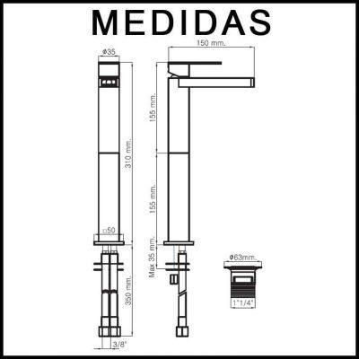 Medidas Grifo de Lavabo Alto, Monomando Cascada Libre Aran MR