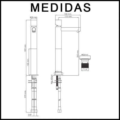 Medidas Grifo de Lavabo Alto, Monomando Delta Cil MR, Cromo
