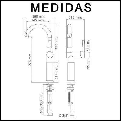 Medidas Grifo de Lavabo Caño Alto Alargadera 12 cm, Monomando Roda MR, Cromo