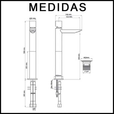 Medidas Grifo de Lavabo Alto, Monomando Alargadera 15 cm Serpi 14 MR, Cromo
