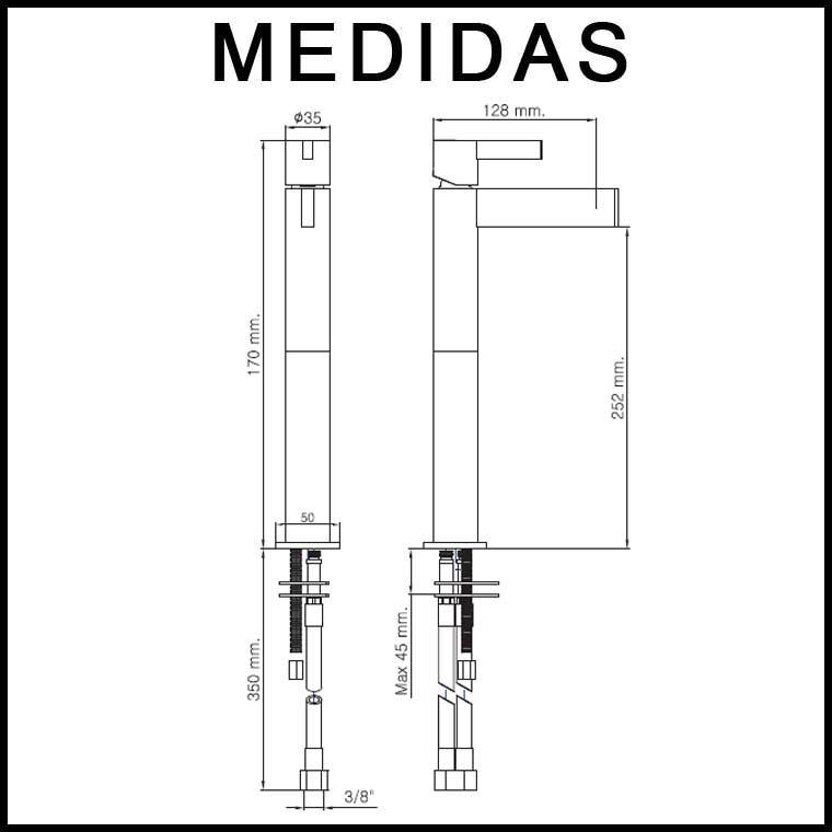 Medidas grifo de lavabo alto monomando con alargadera 15 for Grifo cocina pared 15cm