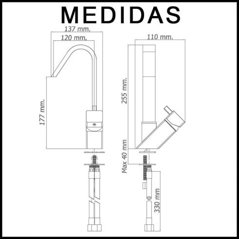 Medidas Grifo de Lavabo, Monomando Caño Alto Catral MR
