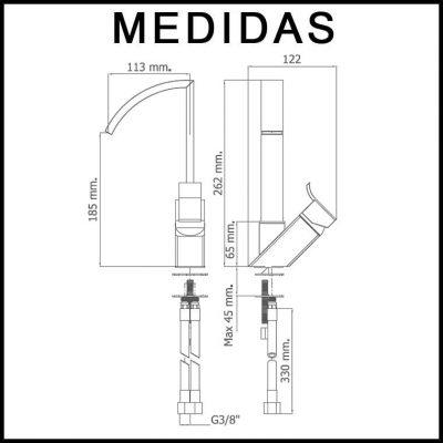 Medidas Grifo de Lavabo, Monomando Caño Alto Inca de la marca Griferias MR,