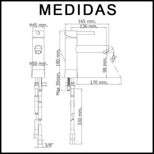 Medidas Grifo de Lavabo Caño Largo Monomando Delta 06 MR, Cromo