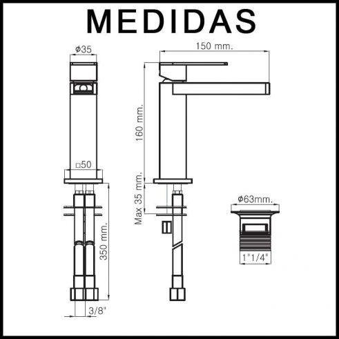 Medidas Grifo de Lavabo, Monomando Aran Cascada Libre MR