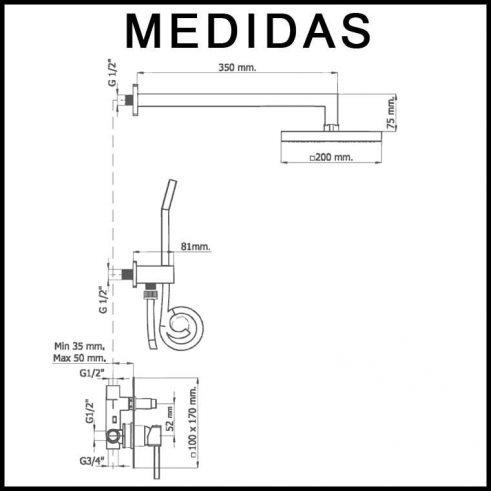 Medidas Conjunto Ducha Empotrado, Monomando con Accesorios de Ducha Inca MR