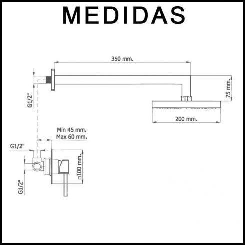 Medias Conjunto Ducha Empotrado, Monomando con Accesorios de Ducha Inca MR