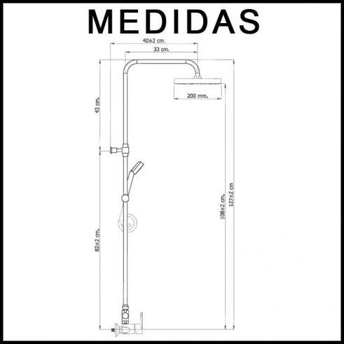 Medidas Equipo De Ducha, Monomando con Accesorios de Ducha Inca MR