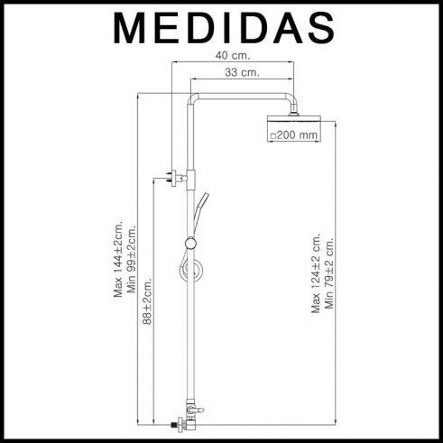 Medidas Equipo de Ducha, Monomando con Accesorios de Ducha Petra Cub MR